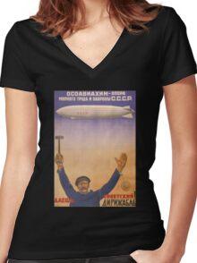 Soviet Russia Zeppelin Poster Women's Fitted V-Neck T-Shirt
