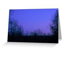 Purple Violet Twilight Sky & Tree Silhouette Greeting Card