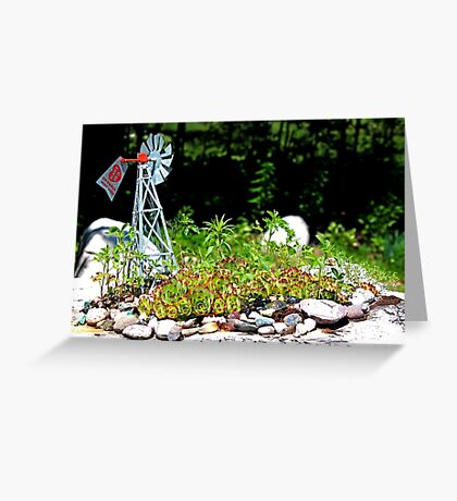 Hart Well Drilling Anniversary Windmill in Rock Garden Greeting Card