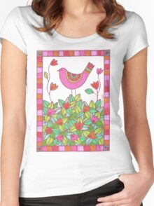 Colorful Bird with Flowers  Women's Fitted Scoop T-Shirt