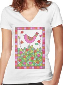 Colorful Bird with Flowers  Women's Fitted V-Neck T-Shirt