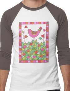 Colorful Bird with Flowers  Men's Baseball ¾ T-Shirt