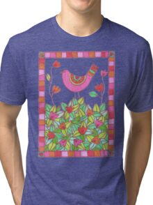 Colorful Bird with Flowers  Tri-blend T-Shirt
