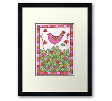 Colorful Bird with Flowers  Framed Print