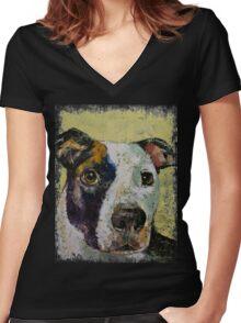Pit Bull Portrait Women's Fitted V-Neck T-Shirt
