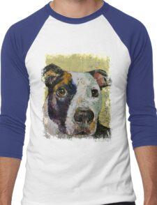 Pit Bull Portrait Men's Baseball ¾ T-Shirt