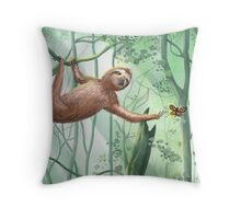 Sweet Sloth and Butterflies Throw Pillow