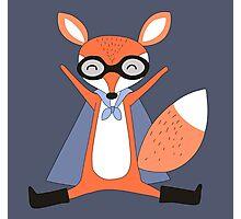 Silly Cartoon Animals Red Fox Superhero Photographic Print