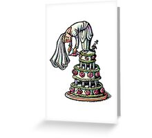 Bride Decorates Her Own Wedding Cake Greeting Card
