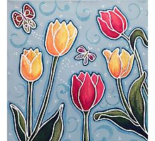 Tulips and Butterflies Photographic Print