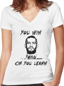Conor McGregor UFC Black and White T Women's Fitted V-Neck T-Shirt