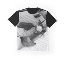 Black and White Clock with Book Graphic T-Shirt