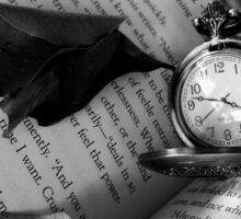Black and White Clock with Book Sticker
