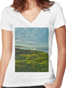 Pacific Coast Sunrise - Cambria, California Women's Fitted V-Neck T-Shirt