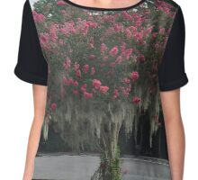 Red Crepe Myrtle Chiffon Top