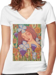 When I Think of You Women's Fitted V-Neck T-Shirt