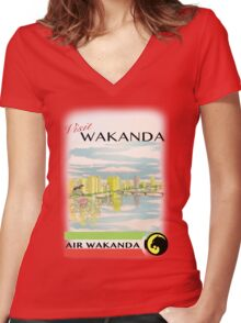 Visit Wakanda- Vintage Travel Ad Women's Fitted V-Neck T-Shirt