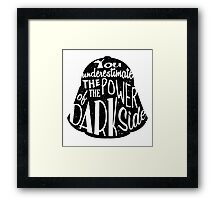 Star Wars - Darth Vader quote - You underestimate the power of the dark side - Darth Vader Silhouette Typography  Framed Print
