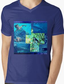 Mother Gaia and Her Sea Children (Collage2)  Mens V-Neck T-Shirt
