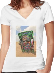 Graffiti Cadillac Women's Fitted V-Neck T-Shirt