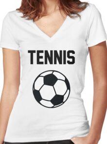 Tennis - Black Women's Fitted V-Neck T-Shirt