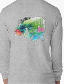 woodland cartoon inspired splatter watercolor Long Sleeve T-Shirt