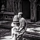 Monk. Troglodyte Temple. Marble Mountains Da Nang. Vietnam. by Ramona Farrelly