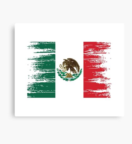 Mexican flag distressed. Canvas Print