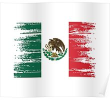 Mexican flag distressed. Poster