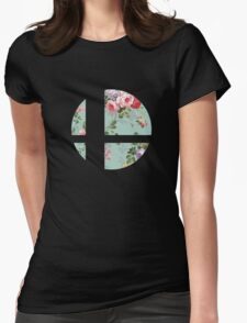 Super Smash Bros. Floral Womens Fitted T-Shirt