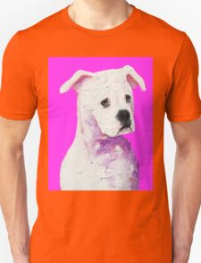 American Bulldog painting on pink Unisex T-Shirt