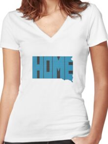 South Dakota HOME state design Women's Fitted V-Neck T-Shirt