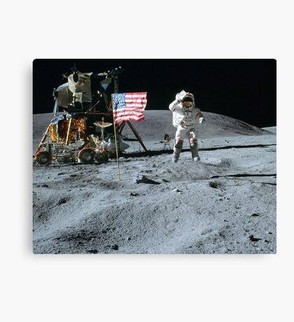 Commander John Young Jumps & Salutes the Flag Canvas Print