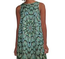 Attractive Peacock Feathers Kaleidoscope A-Line Dress