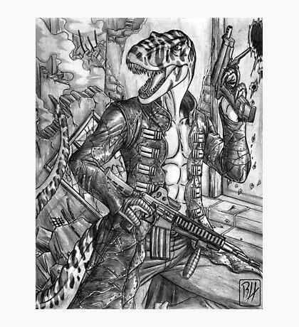 Battle T-Rex Photographic Print