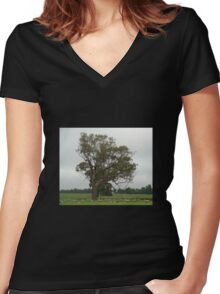 Sheep grazing Women's Fitted V-Neck T-Shirt