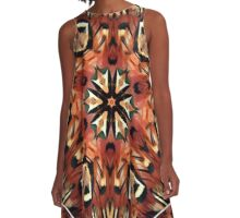 Charming Pheasant Feathers Kaleidoscope  A-Line Dress