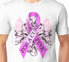 I Wear Pink For A Cure (w) Unisex T-Shirt
