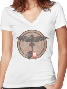 Distressed Night Fury Silhouette  Women's Fitted V-Neck T-Shirt
