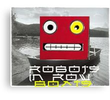 Robots in row boats  Canvas Print