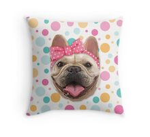 Cute Bulldog with Headband Throw Pillow