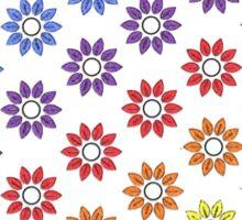 Rainbow Floral White  Sticker