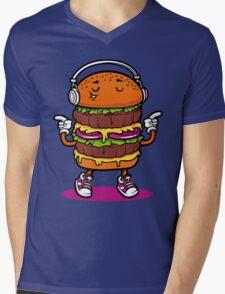 Dancing Burger Mens V-Neck T-Shirt