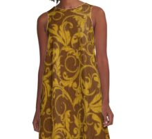 Vintage Swirls Mango Cinnamon A-Line Dress