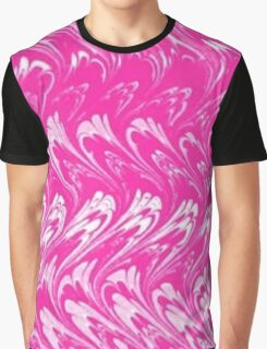 Vintage Swirls and Waves Pink and White Graphic T-Shirt