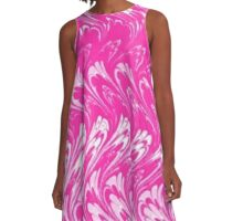 Vintage Swirls and Waves Pink and White A-Line Dress