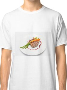 Fillet Steak medallion with vegetables on a plate  Classic T-Shirt