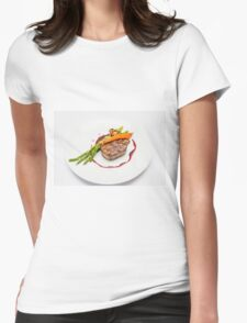 Fillet Steak medallion with vegetables on a plate  Womens Fitted T-Shirt