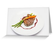 Fillet Steak medallion with vegetables on a plate  Greeting Card