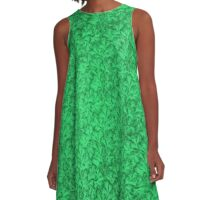 Vintage Floral Lace Leaf Green A-Line Dress